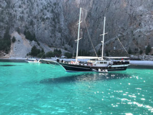 Sail Boat On The Water, In Symi, Greece